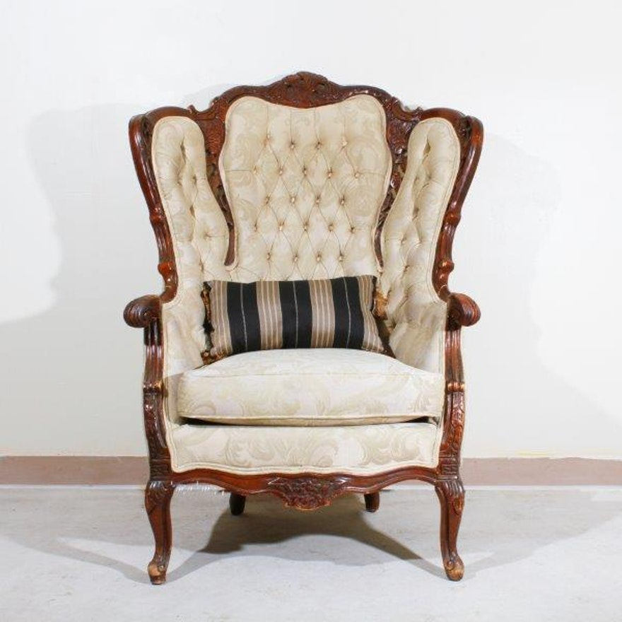 Antique Tufted High Back Queen Anne Chair ... - Antique Tufted High Back Queen Anne Chair : EBTH
