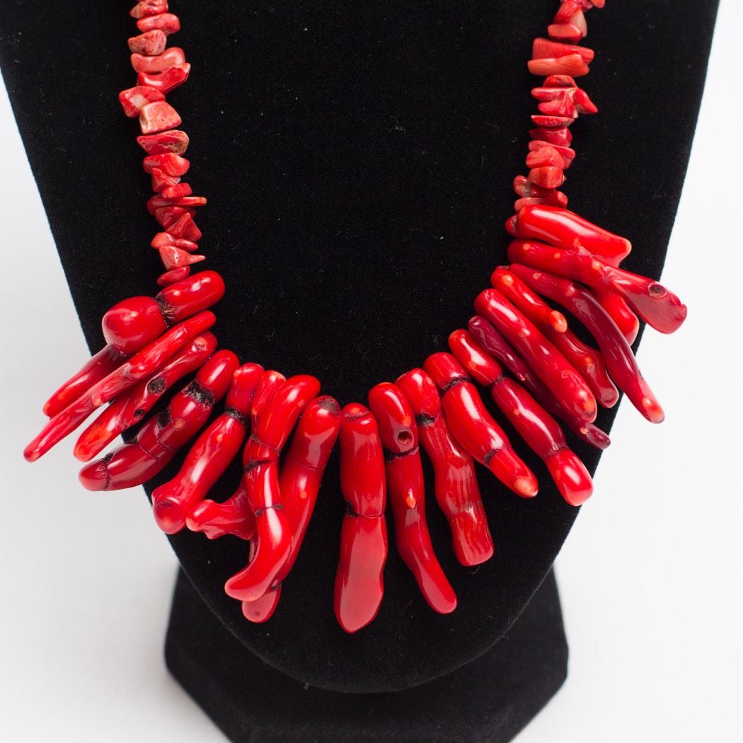 Natural Coral Necklace and Bracelet Set