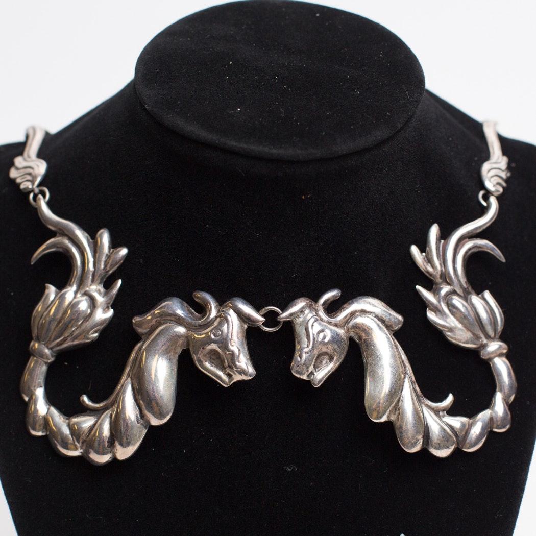 Mexico Silver Dragon Necklace