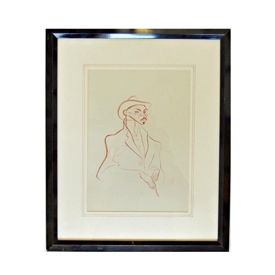 """Albert Hirschfeld Lithograph Titled """"Reefer Man"""""""