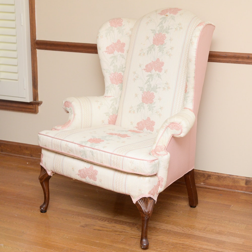Hickory Fry Pink Upholstered Wingback Chair ...