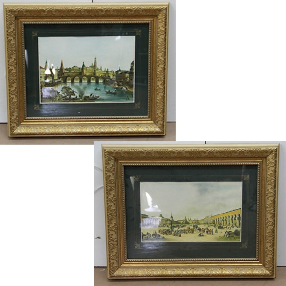 """Framed Copies of """"View of the Kremlin"""" by Fyodor Alekseyev and """"View of Old Red Square"""" by Delabart"""