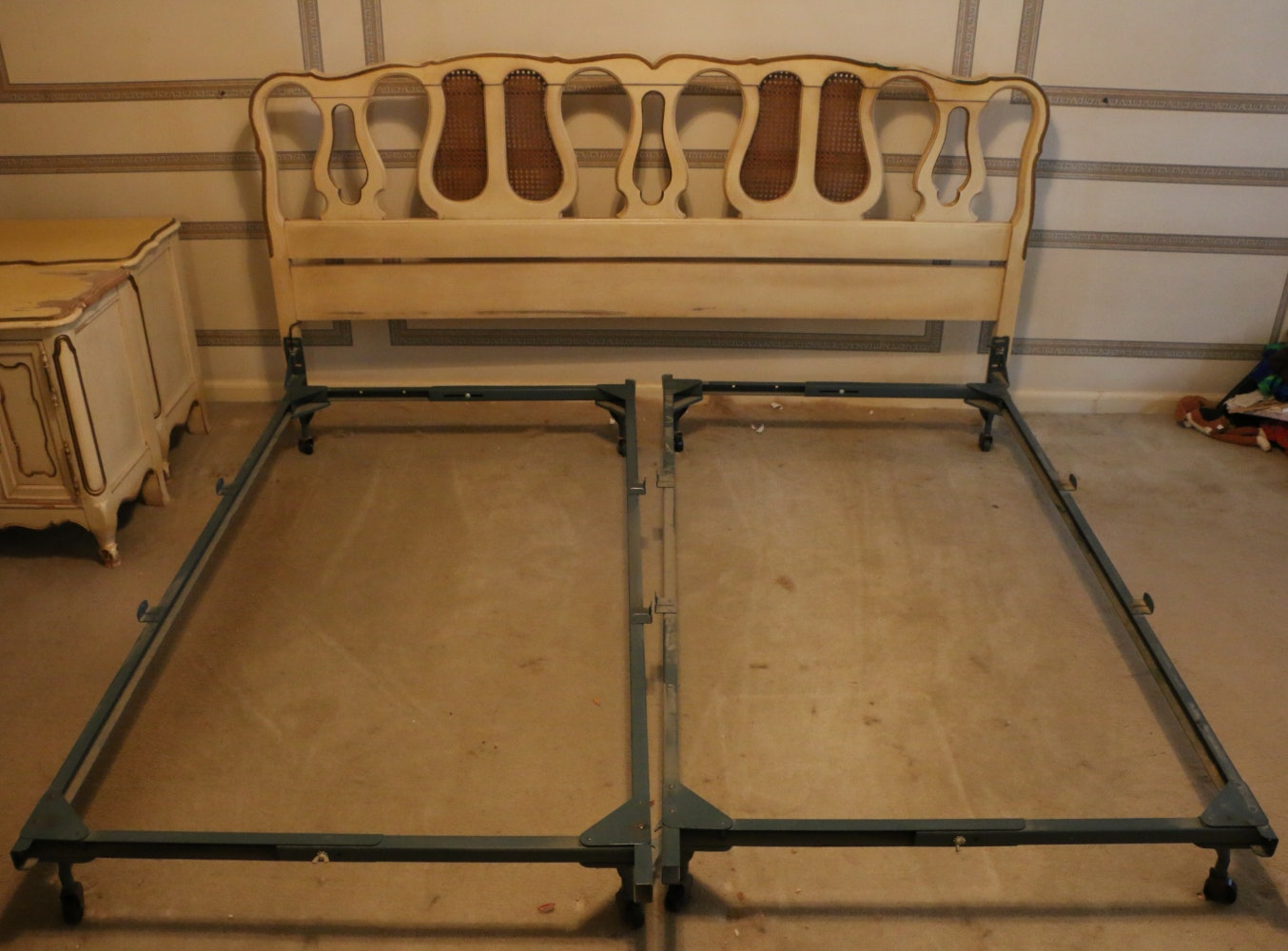 Circa 1960s Louis XV Style King Size Bed Frame