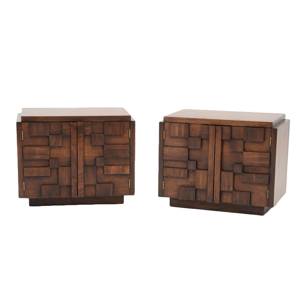 Lane Brutalist Style Nightstands in Walnut Finish