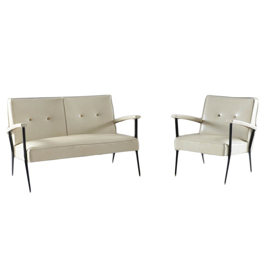 1950s white naugahyde settee and matching arm chair ebth for Matching arm chairs