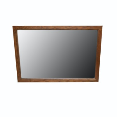 Brown wood framed rectangle wall mirror ebth for 4 x 5 wall mirror