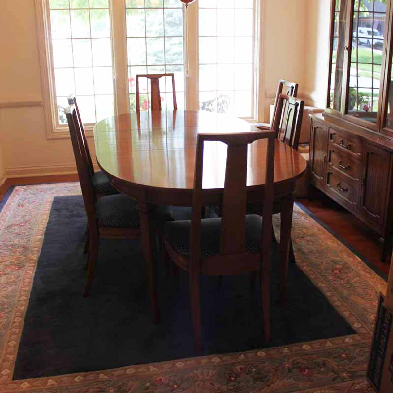 mid century broyhill lenoir house dining room table and