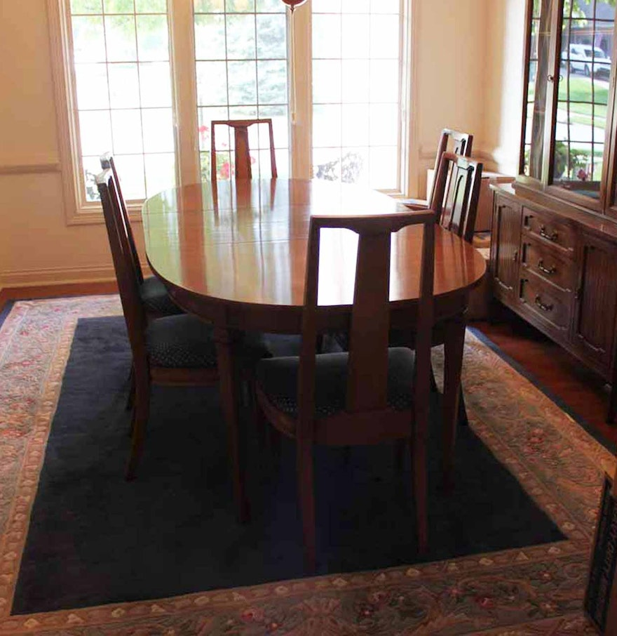 mid century broyhill lenoir house dining room table and chairs ebth