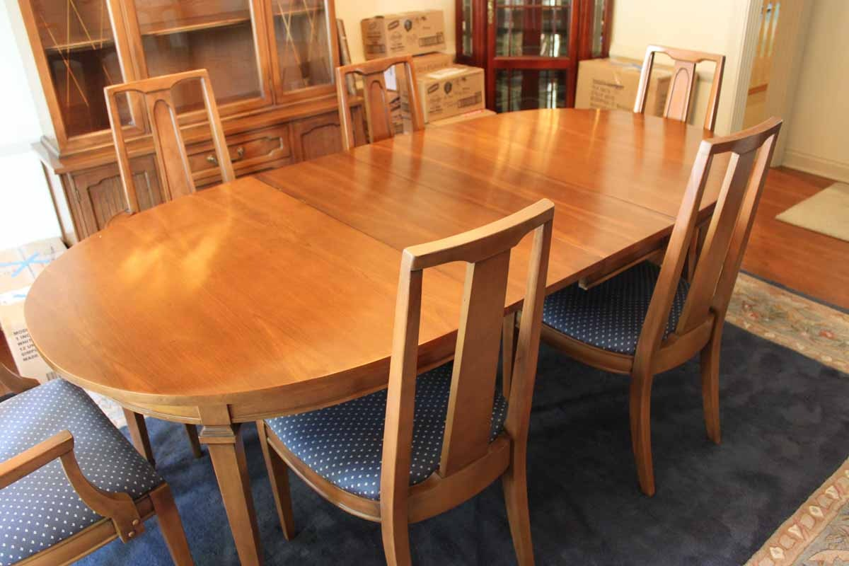 mid century broyhill lenoir house dining room table and chairs