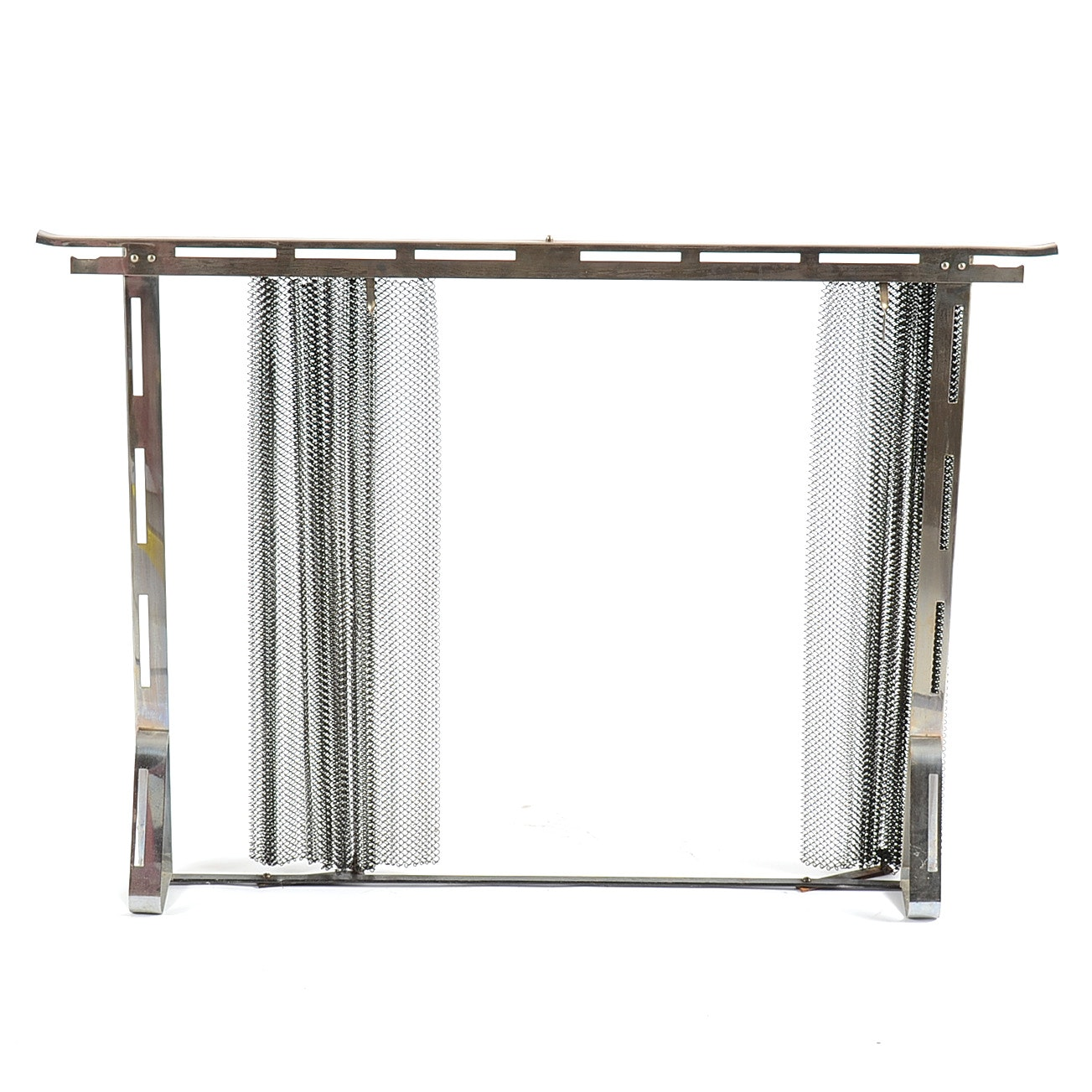 Chrome Fireplace Screen With Wire Mesh Curtain Ebth