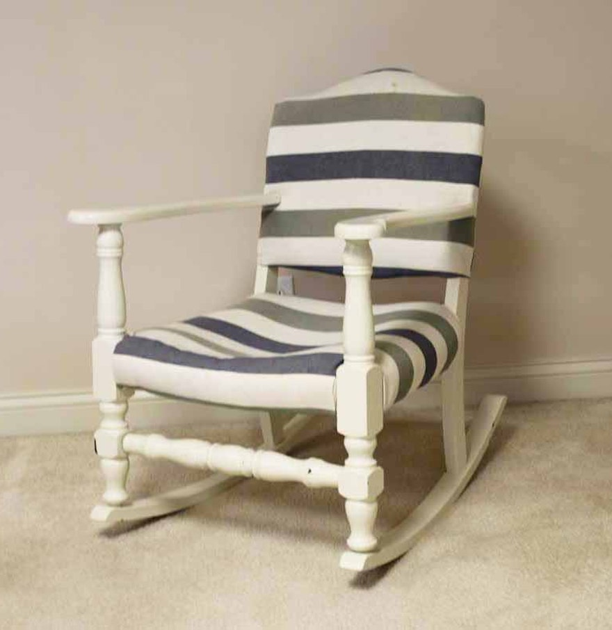 White Upholstered Wooden Rocking Chair : EBTH