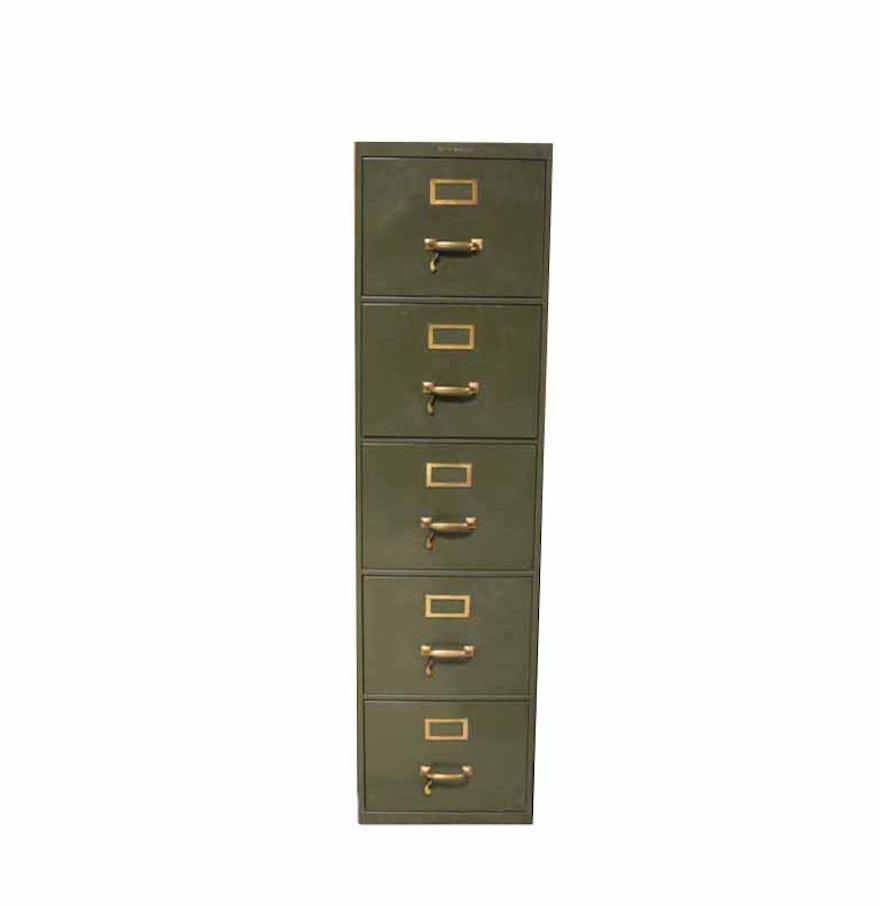 Five Drawer Filing Cabinet Vintage Shaw Walker Five Drawer Metal Filing Cabinet Ebth
