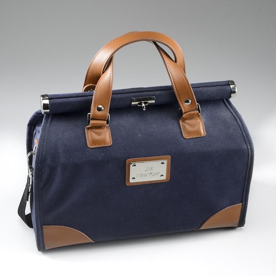 Joy Mangano New York Navy Pebbled Suede Doctor Bag