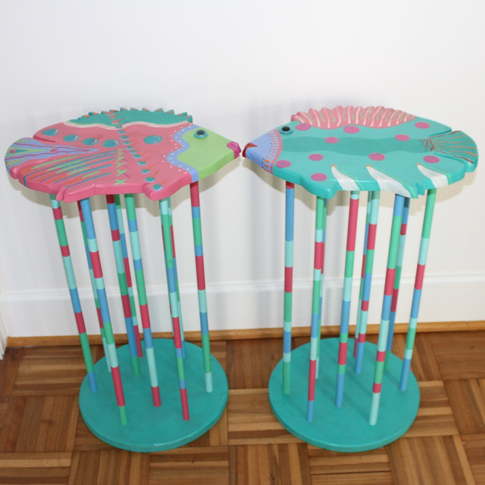 Pair Of Painted Wood Fish Shaped Tables ...