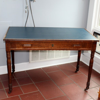 Vintage Desk With Naugahyde Top