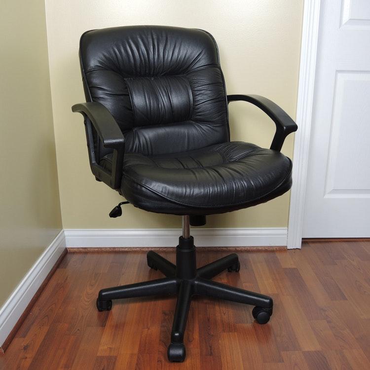 FDL Black Faux Leather Office Chair On Wheels ...