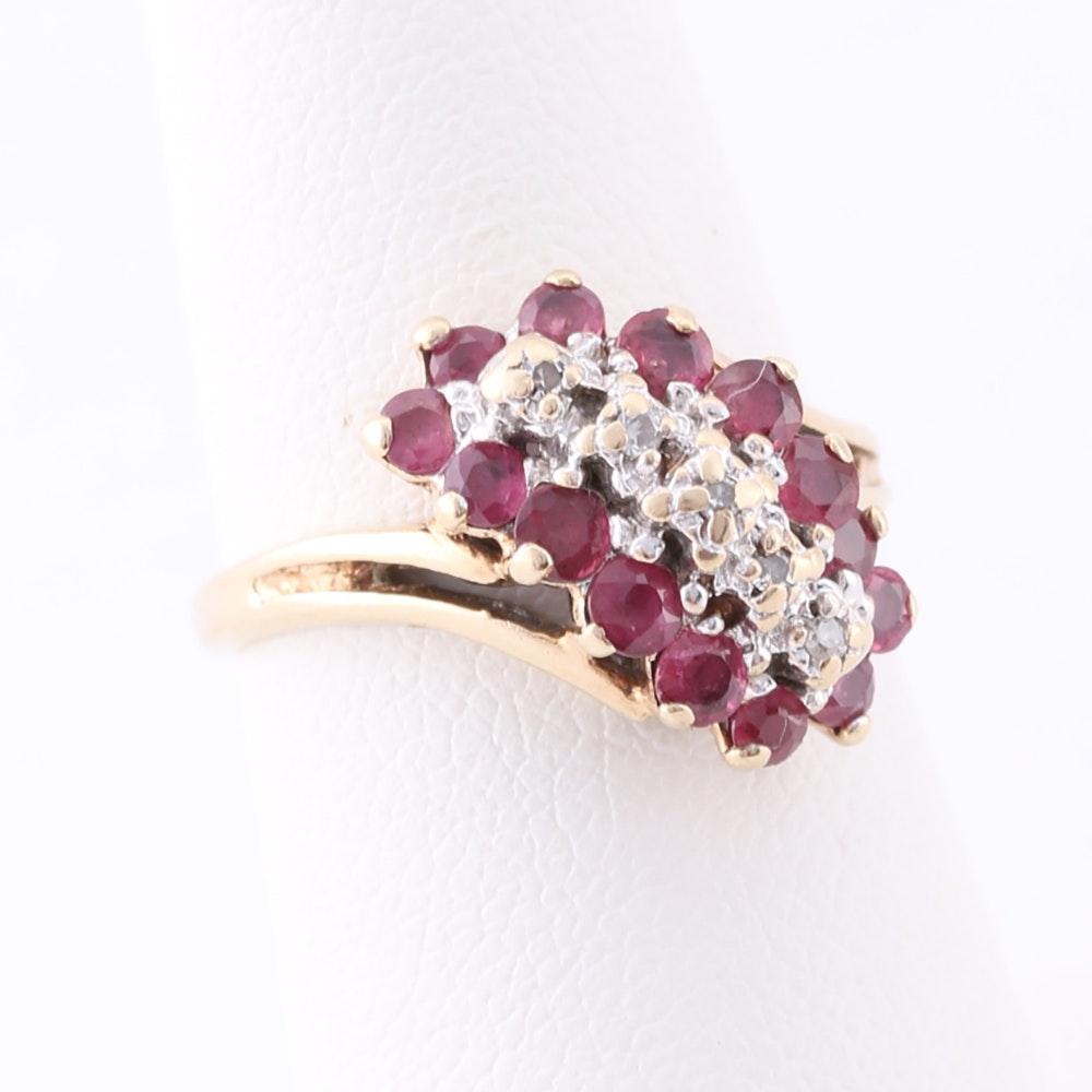 10K Yellow Gold Ruby Diamond Ring