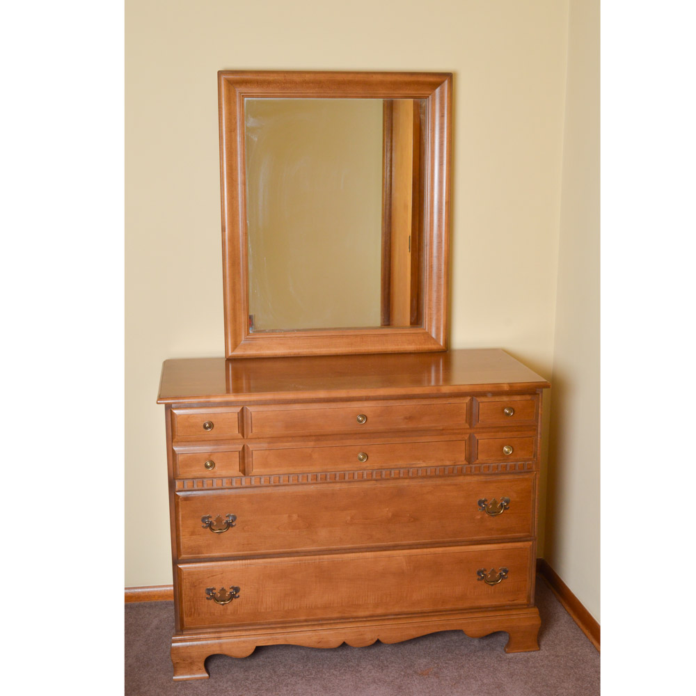 Mid century colonial style maple wood dresser and mirror