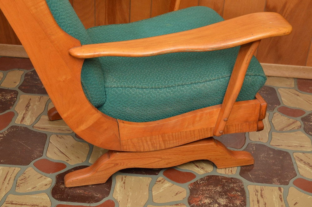Vintage Upholstered Maple Platform Rocking Chair Ebth