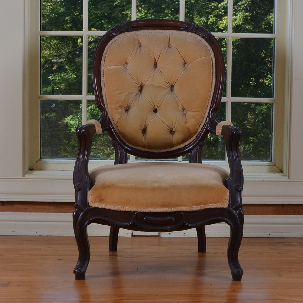 Pair Of Victorian Mahogany Parlor Chairs Ebth