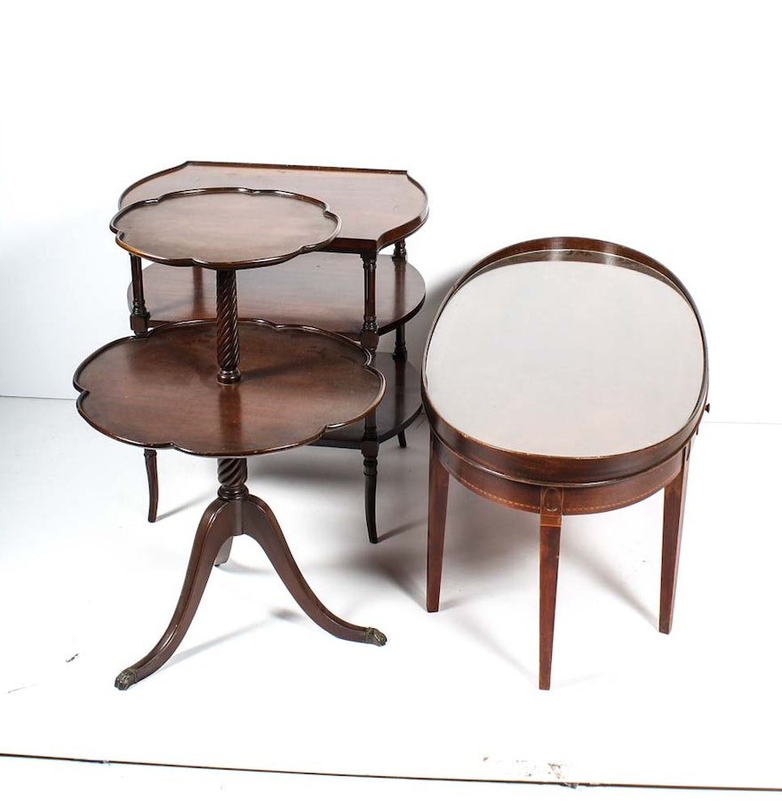 Oval federal style reproduction coffee table and side tables ebth oval federal style reproduction coffee table and side tables geotapseo Images