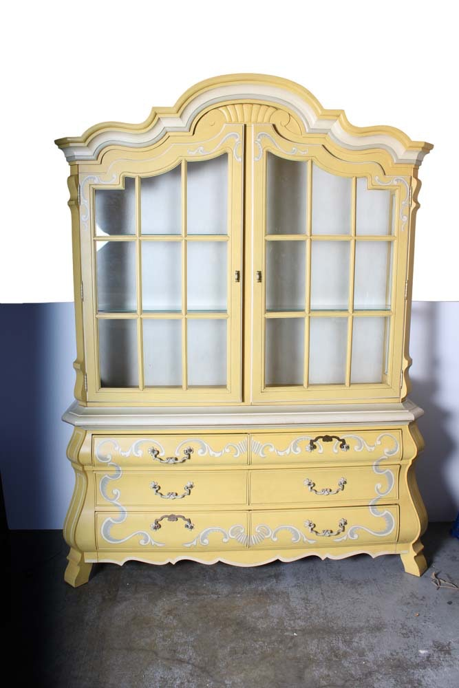 French Provincial Style Two Piece China Cabinet By Drexel ...