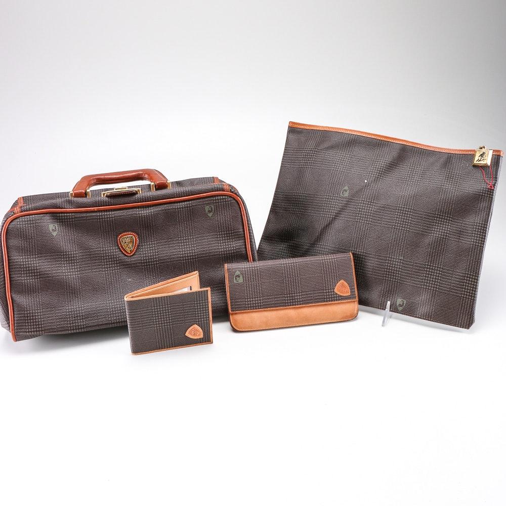 Tonino Lamborghini Brown Plaid Bags and Wallets
