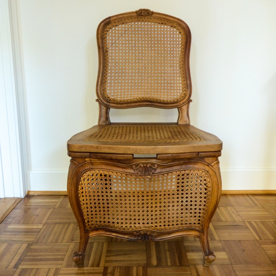 Antique Caned Commode Chair ... - Antique Caned Commode Chair : EBTH