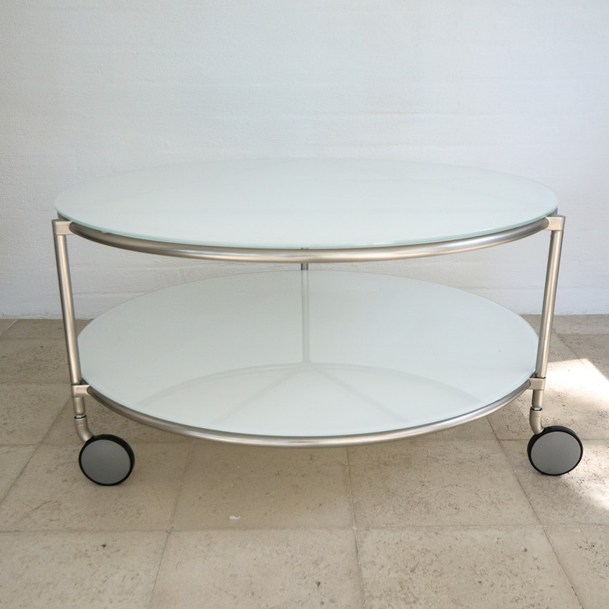 Modern White Gl Round Coffee Table On Casters