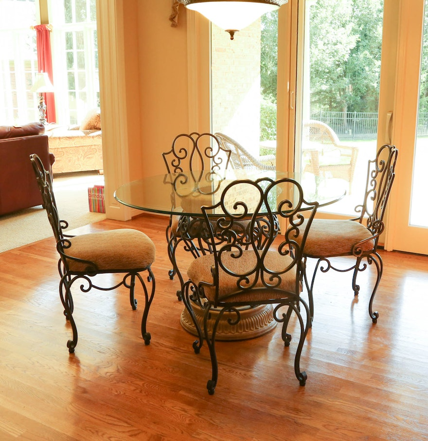 Wrought Iron Glass Top Table With Five Chairs by The ...