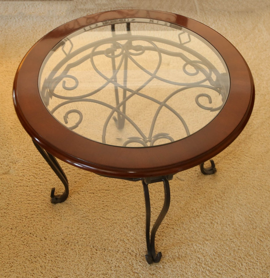Wrought iron side table with inlaid glass top ebth for Wrought iron and glass side tables