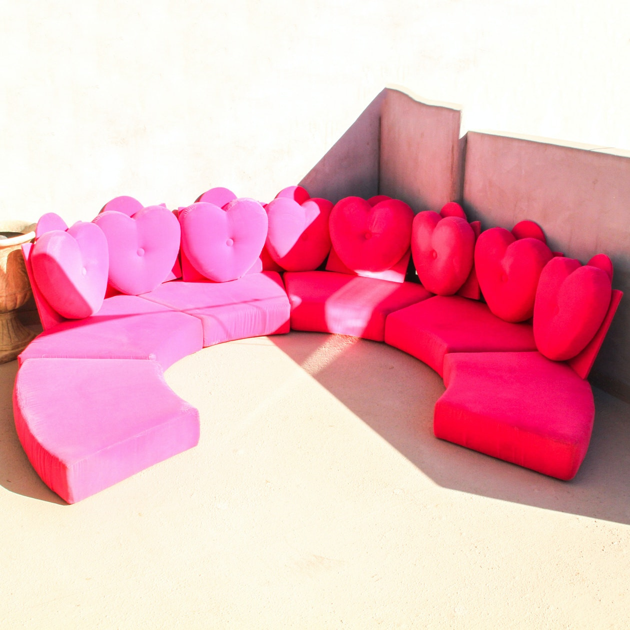 "Pink Velvet ""I Dream of Genie"" Couch and Blanket"