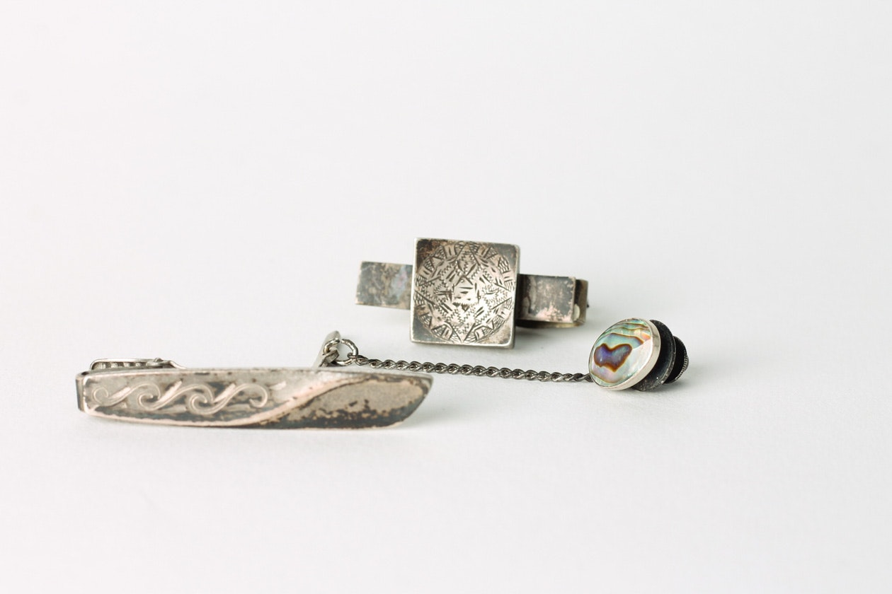 Collection of Vintage Sterling Silver Tie Clips