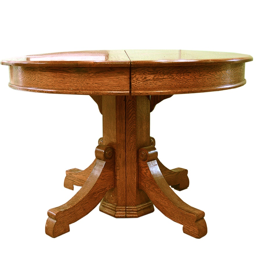 Round Oak Coffee Table Ebth