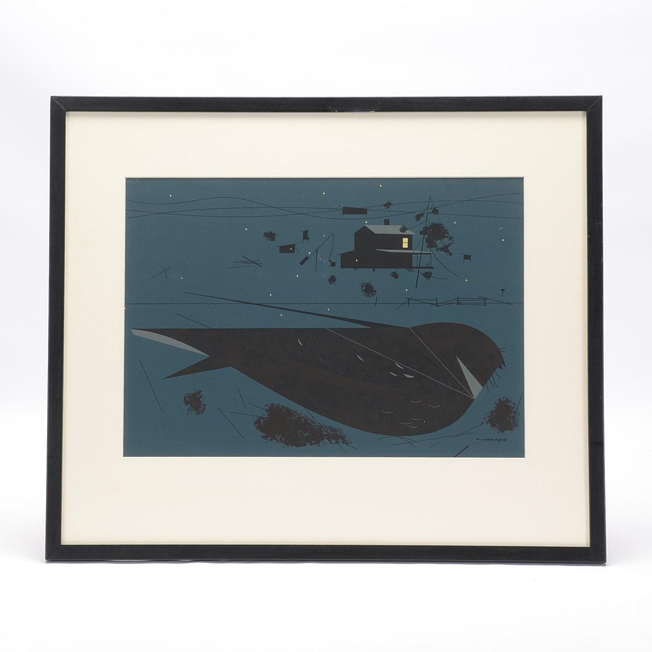 "Charley Harper Original Ford Times Serigraph ""Whipoorwill"""