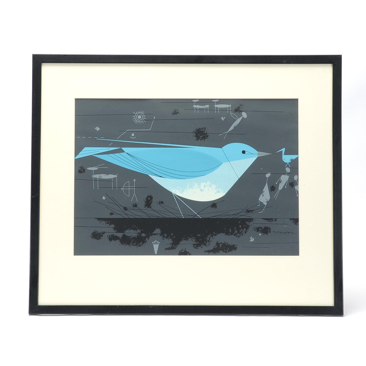 "Charley Harper Original Ford Times Serigraph ""Mountain Bluebird"""