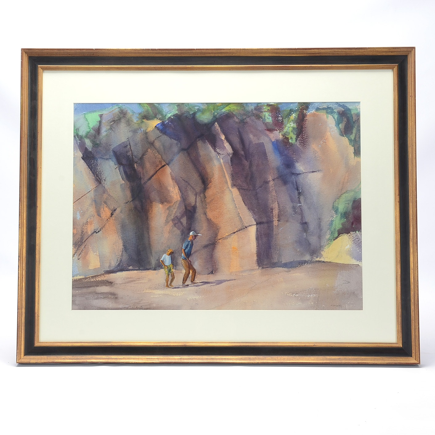 "Reginald Grooms Original Watercolor ""Walking with Father"""