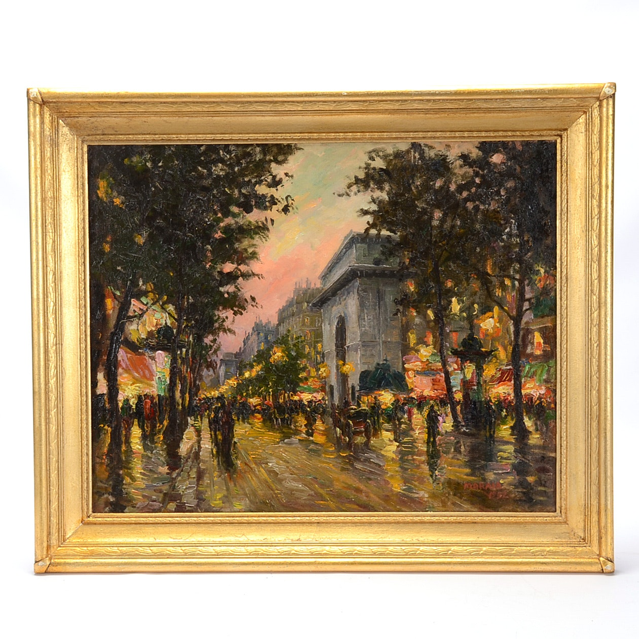 Maraia Vintage Oil on Canvas French Street Scene