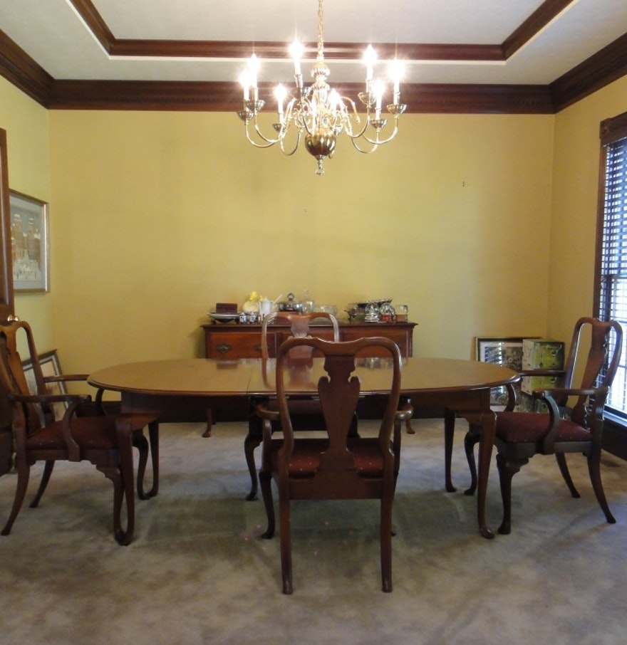 Queen Anne Dining Table & Chairs by Hickory Chair Co. : EBTH