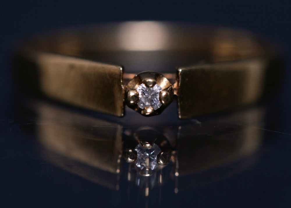 14K Gold Diamond Solitaire Engagement Ring