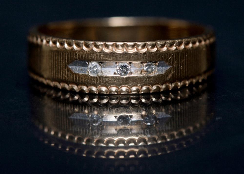 14K Gold and Diamond Wedding Band