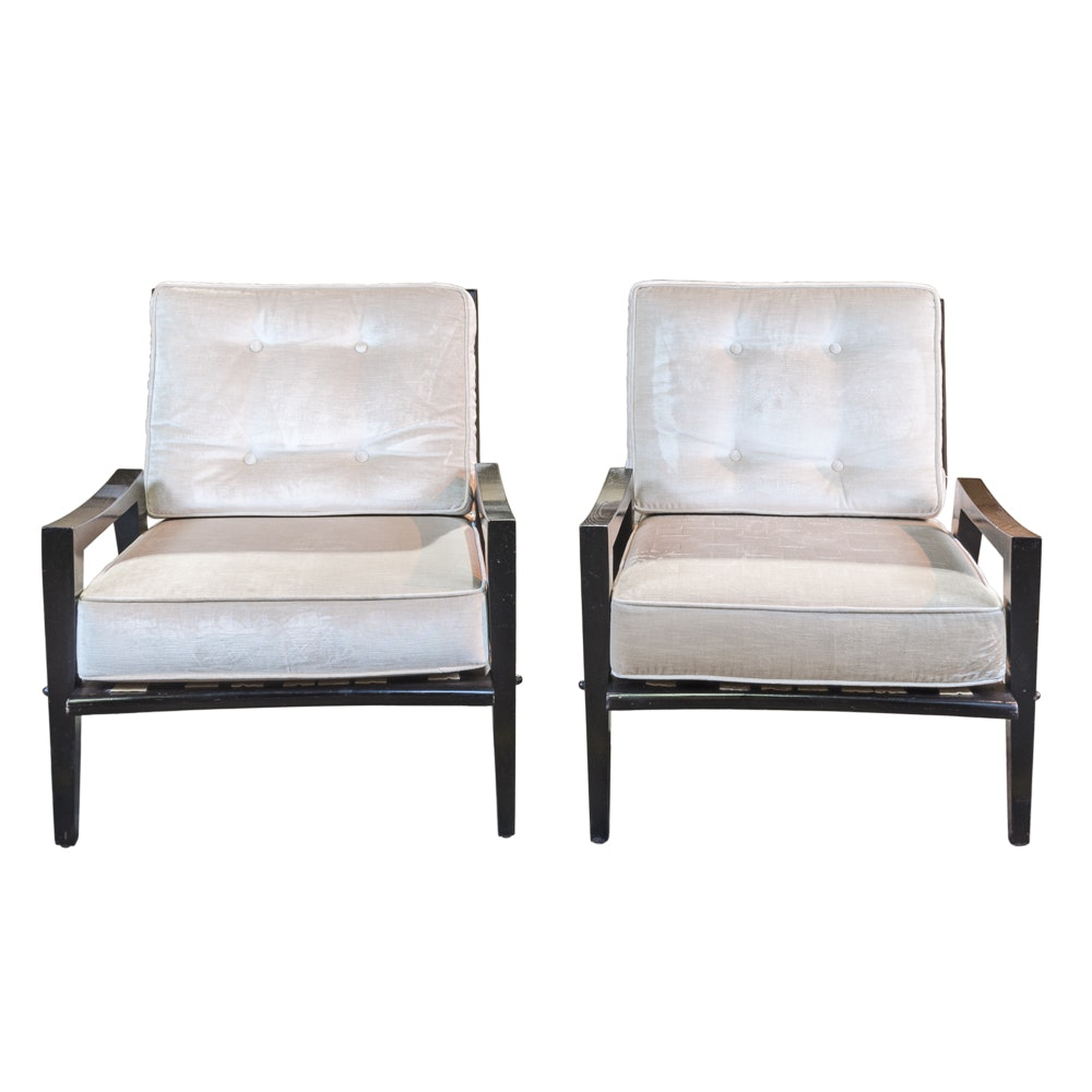 Mid to Late 20th Century Ebonized Open Armchairs