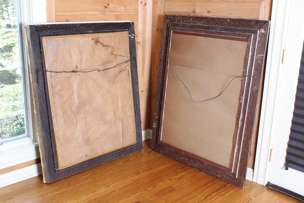Pair of ornate metallic gold tone wall mirrors ebth for Mirror 34 productions