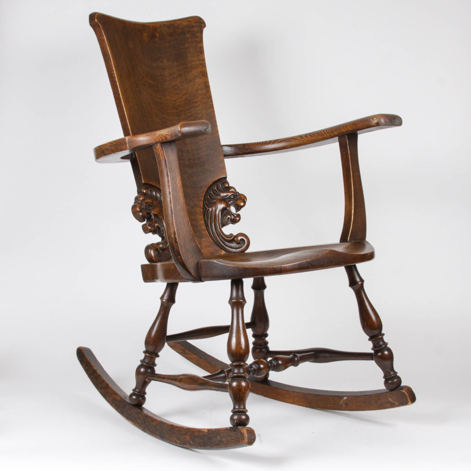 Antique English Carved Oak Rocking Chair