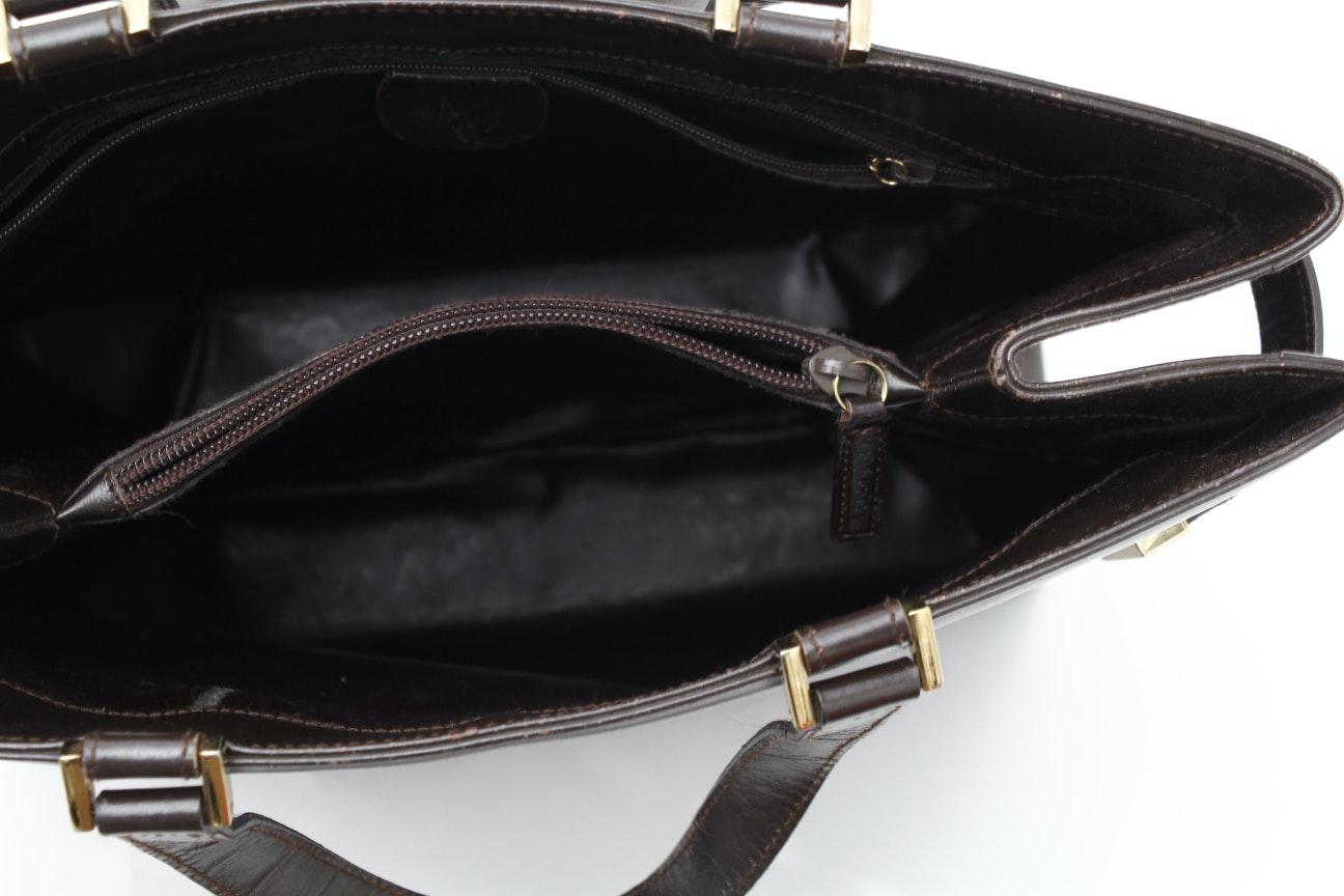 vintage leather gucci tote ebth. Black Bedroom Furniture Sets. Home Design Ideas