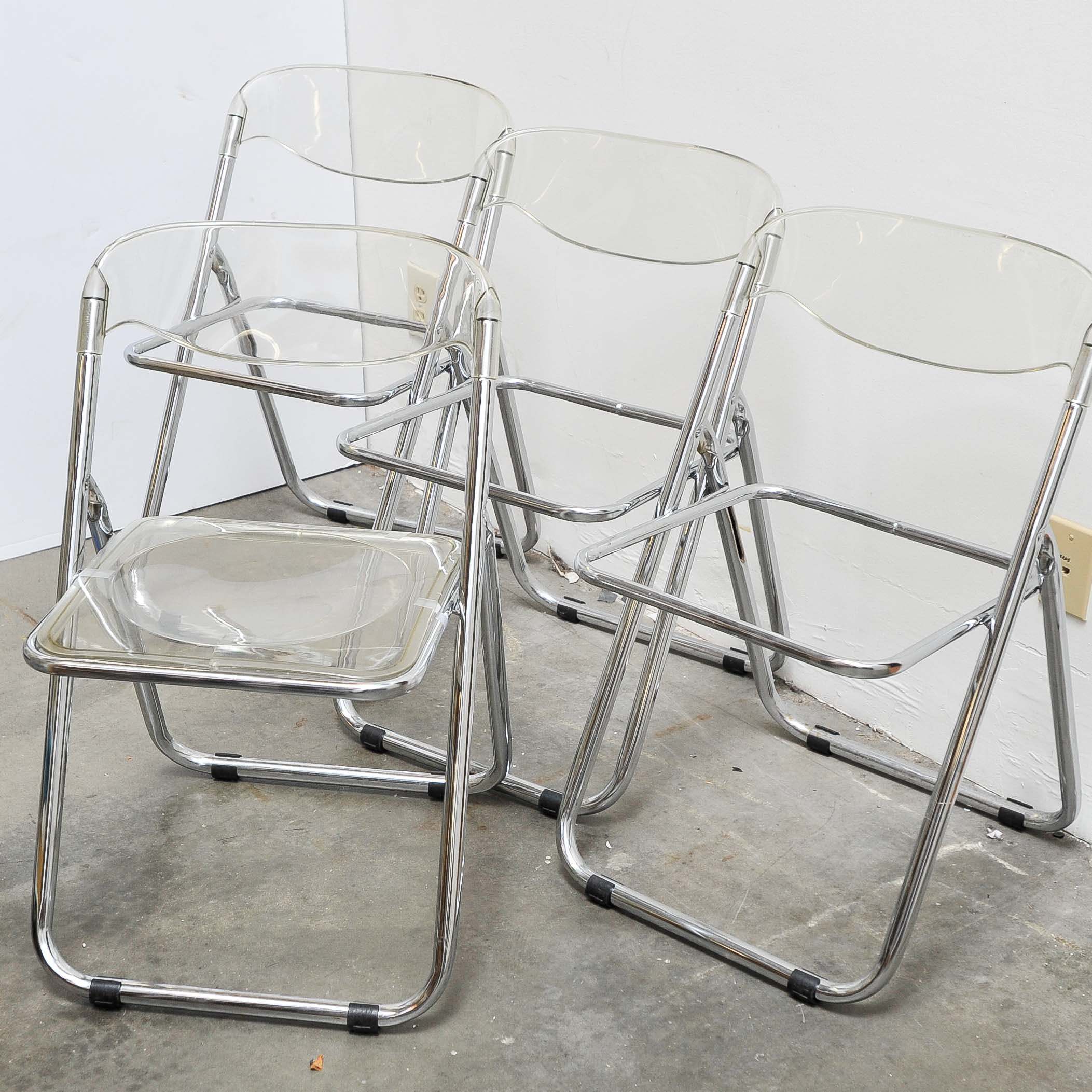 Set Of 4 Mid Century Italian Lucite And Chrome Folding Chairs ...