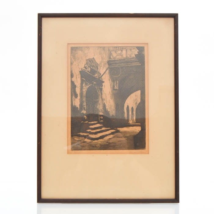 Limited Edition Etching of Street Scene