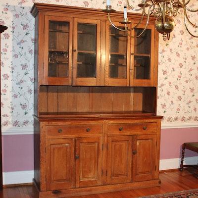 Antique Rustic China Cupboard - Online Furniture Auctions Vintage Furniture Auction Antique
