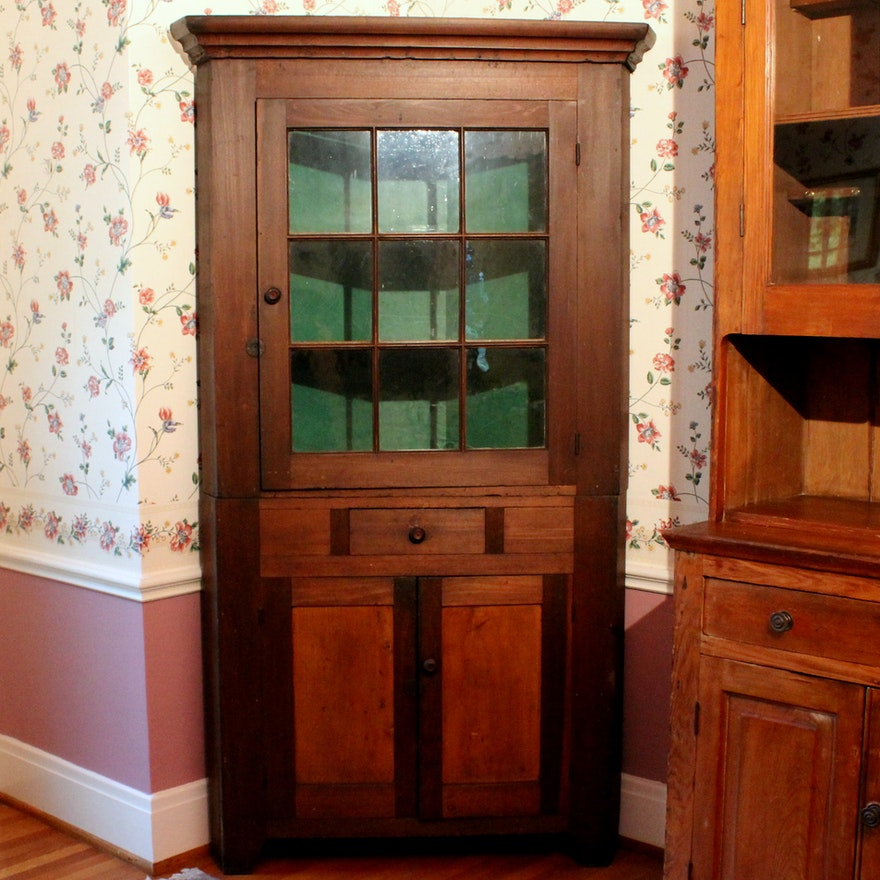 Antique Corner China Cabinet ... - Antique Corner China Cabinet : EBTH