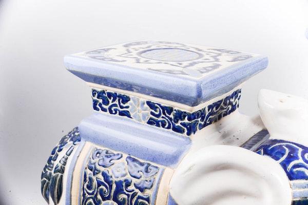 Blue And White Ceramic Elephant Plant Stand Pair Ebth